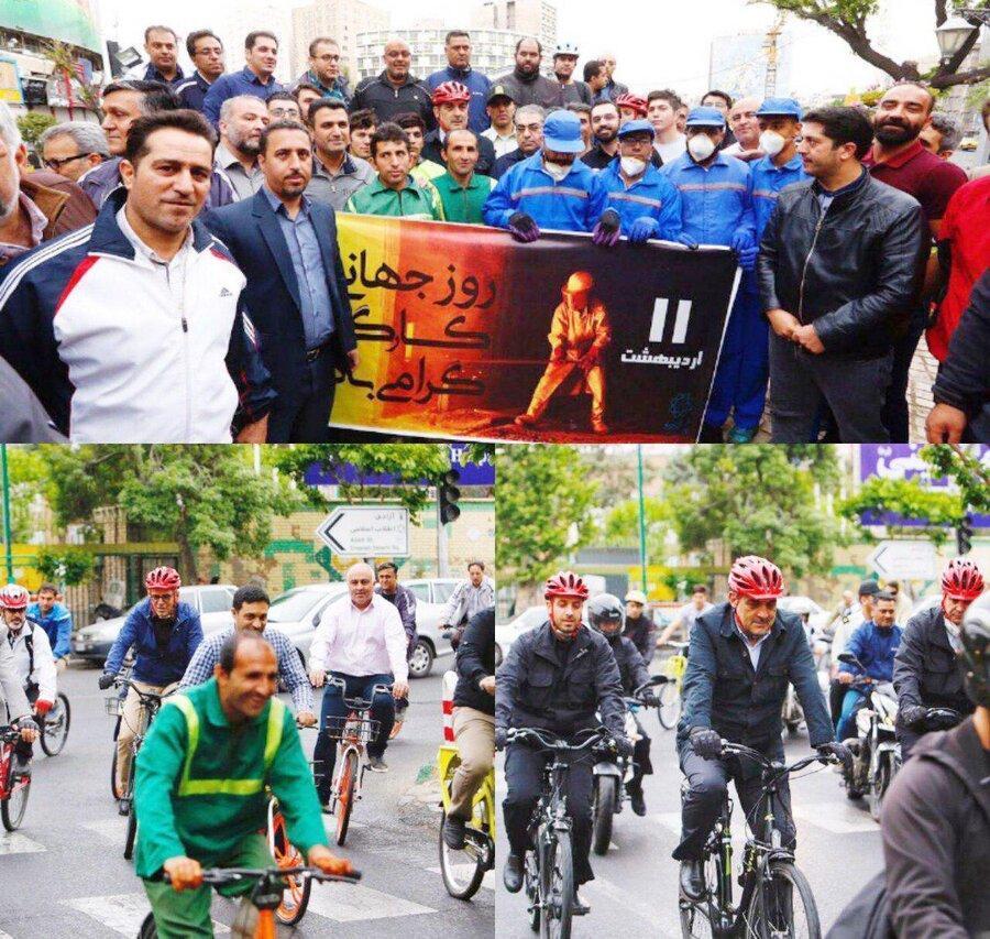 رکاب زنی حناچی با جمعی از کارگران شهرداری تهران در سه شنبه های بدون خودرو